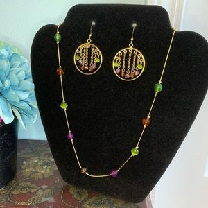 Gold Multicolored Necklace and Earring Combo